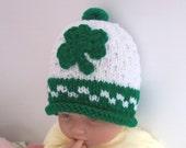 Hand made baby St Patrick's shamrock hat