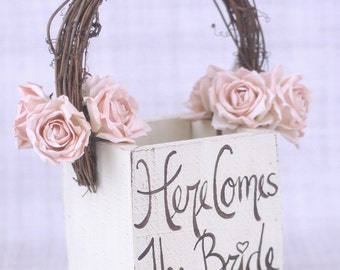 Rustic Flower Girl Basket Here Comes The Bride Sign Country Wedding (Item Number MHD100018)