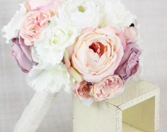 Silk Bride Bouquet Peony Peonies Roses Ranunculus Country Wedding Rhinestone Pearls Lace (Item Number 130109)