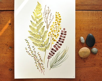 Plant mix no.02 - 8x10 Botanical Watercolor Collection