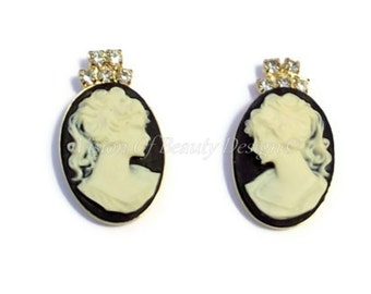 Classic Cameo Earrings Black Ivory White Post Earrings Gift for Her