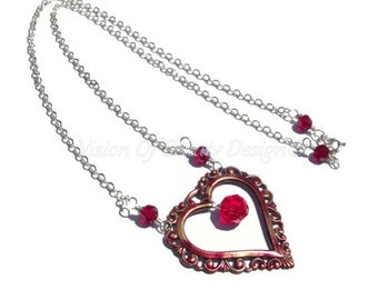Sterling Silver Open Heart Necklace Ruby Red Necklace One Of A Kind by VisionOfBeautyDesign