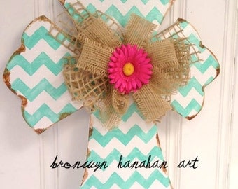Aqua Chevron Cross Door Hanger - Bronwyn Hanahan Art