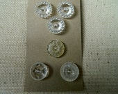 Vintage Buttons - Clear Plastic - Set of 6