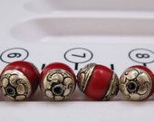Tibet beads Red Resin Silver Repousee set of 9