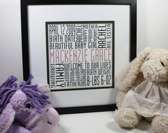 2nd Baby Square Typography Print Custom Second Birth Announcement Modern Word Art Subway Art