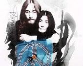 John Lennon - Yoko Ono mixed media from ROMANCE series