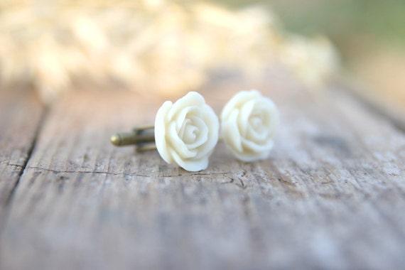 Ivory Cream Rose Flower Cufflinks // Groom Gift // Best Man Gift //  Groomsmen Gift  // Vintage Wedding