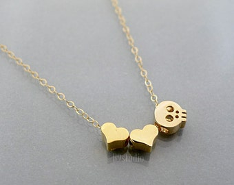 Hearts necklace, love you to death, heart skull tiny charm pendant, 14k gold filled chain, delicate everyday jewelry