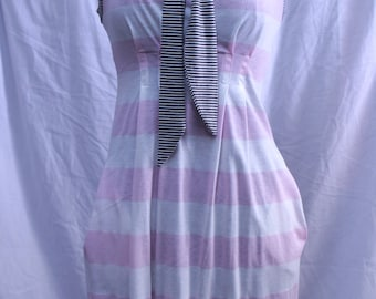 White pink stripes summer dress with tie, 45 % Sale