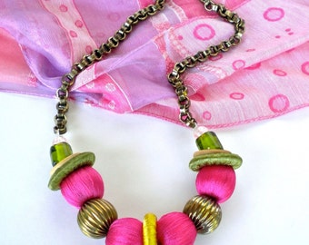 Necklace Pink Green Gold Boho Fiber Covered Beads