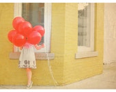 Red Balloon Portrait Fine Art Print Sweet Whimsical Little Girl Yellow Brick French Parisian Home Decor Wholesale