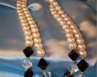 Vintage Double Strand Faux Pearl Jet and Crystal Necklace