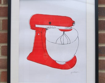 A2 Silk Screen Print of Classic Food Mixer in Red