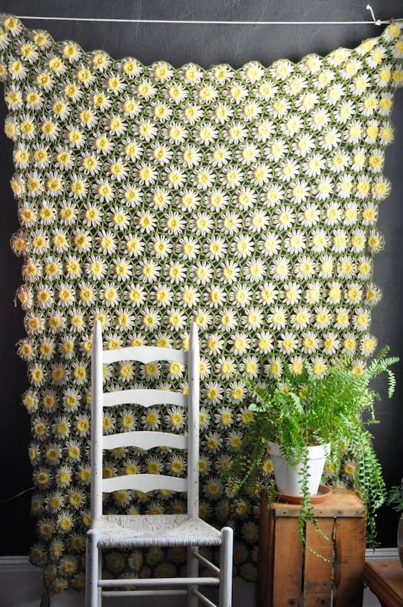 RESERVED For Becca  Vintage Daisy Afghan Blanket Handmade Crocheted