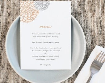 Printable Wedding Menu Template | INSTANT DOWNLOAD | Blooms | 5x7 | Editable Colors | Mac or PC | Word & Pages