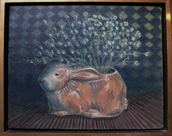 Still life of vintage rabbit planter with baby's breath flowers fine art Original Oil Painting framed lovely unique gift - Free USA shipping