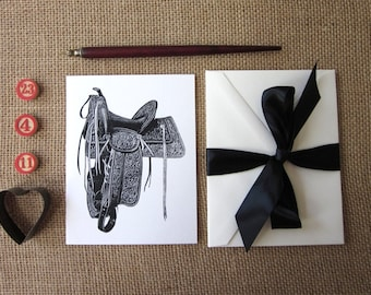Saddle Note Cards Set of 10 with Matching Envelopes
