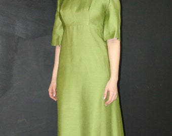 Vintage Long Green Evening DRESS, Custom Tailored, 1970s