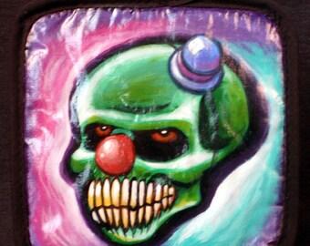 Evil Clown Skull Hand Painted Pot Holder By Undead Ed OOAK