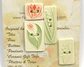 TULIPS & LILIES SET 3 plus 1 handmade ceramic buttons 2 hole rectangle cherry red ivory mint green collection by Faith Ann Originals