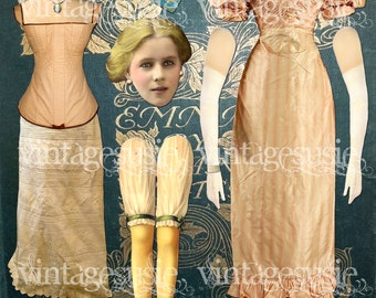 Jane Austen Emma Art Paper Doll Collage Sheet 'Emma Woodhouse' digital download