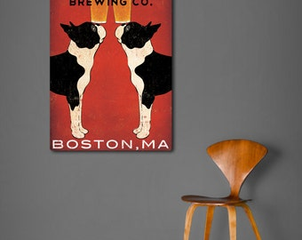 BOSTON Terrier Custom PERSONALIZED dog Brewing Company Beer Sign 24x36x1.5 Gallery Wrapped Canvas Wall Art -  Ready-to-Hang