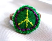 Hair Band - Green Peace Sign Ponytail Holder Hairband Embroidered Hippie Funky Bright Dread Band