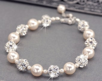 Pearl Bridal Jewelry Wedding Jewelry Crystal by LizardiBridal