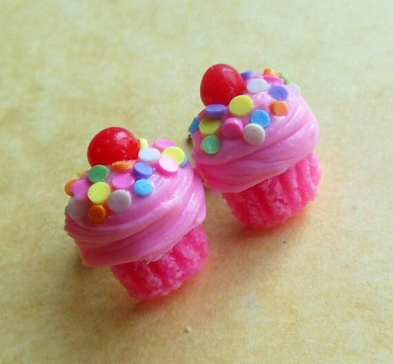 pink strawberry spring time cupcake stud earrings post earrings ...