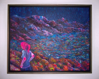 """ORIGINAL PAINTING 16x20"""" Large Colorful Framed Acrylic on Canvas - """"girl at lake in starlight"""""""