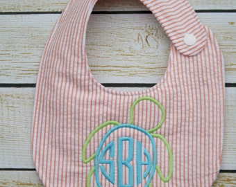 Unique monogrammed turtle bib, Personalized bib, Monogrammed bib, Baby shower gift, Seersucker bib, You Customize