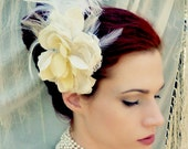 Marie Antoinette Ivory Lace Rose Feather Headpiece - Romantic Fascinator Headdress - Clearance