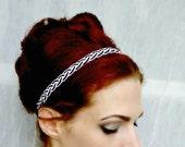 Black And White Woven Headband Hair Band - Retro Pin Up, Nautical