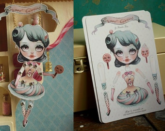 Sugar Circus Blythe doll - Diy articulated paper doll, two postcards set, no brads. art by KarolinFelix