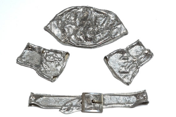 20s  DECO Silver FLAPPER Chain Mesh Cuffs, Tam and Belt - Complete Set by Whiting & Davis