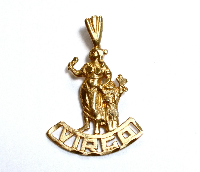 14k gold virgo pendant astrology horoscope solid gold