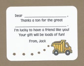 Dump Truck Fill in the Blanks Thank You Notes - Great for Boys