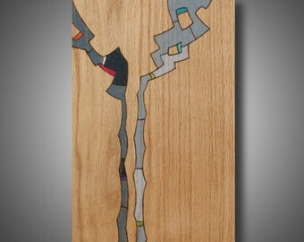 "Original Abstract Art on Oak, Woodburned Design Colored with Prismacolor Pencil, ""Bad Poetry"" 11.25"" x 16.5"""