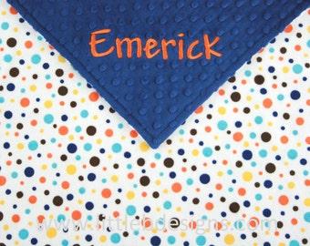 Personalized Baby Blanket - Navy with Blue and Orange Polka Dot Minky - Boy Minky Blanket