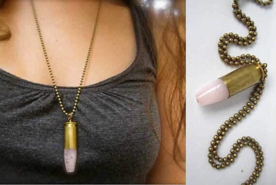 Smoky Rose Quartz Bullet Necklace - High-Polish Soft Pink Rose Quartz Natural Stone set into Reclaimed Bullet Casing