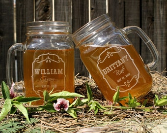 bridal shower gift mason jar wedding rustic toasting glasses mason jars personalized wedding