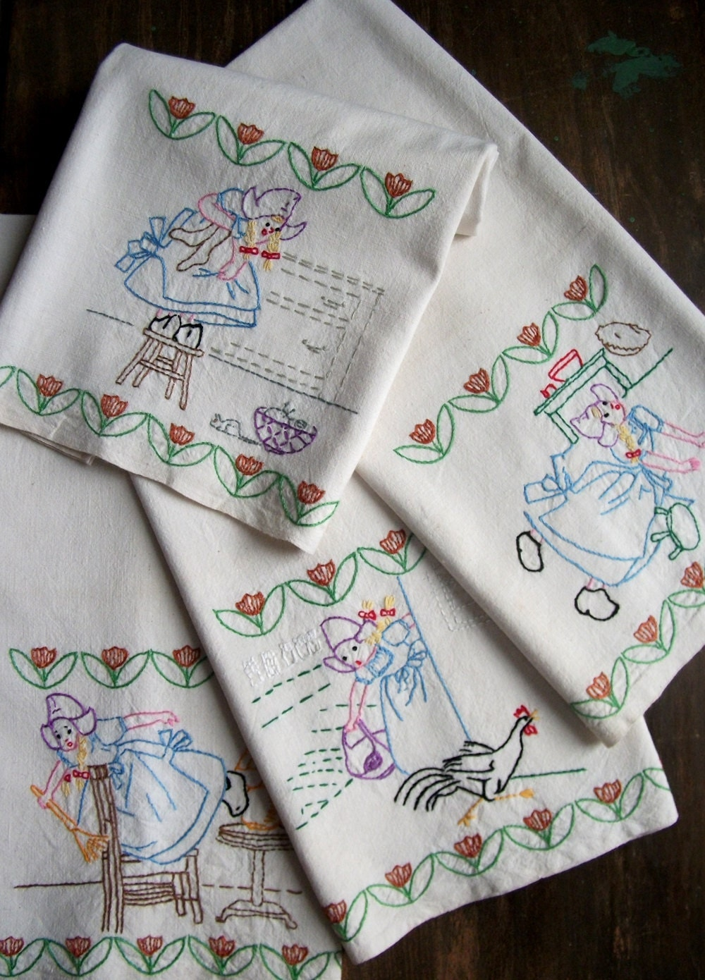 embroidery designs kitchen towels vintage embroidered dish towel adventures in housekeeping 7053