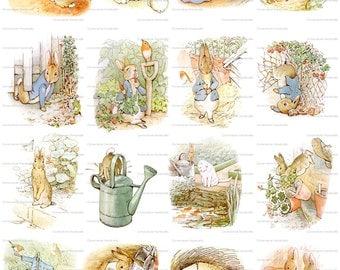 Beatrix Potter Peter Rabbit  Digital Collage Sheet Instant Download