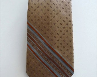 Vintage Neckties Men's 80's Silk, Tan, Striped, Tie by Paolo Rossi