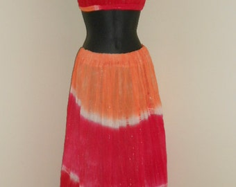 Hot Pink and Orange Tie Dye Cotton Halter Top and Skirt Set- 014