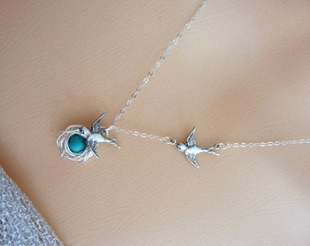 Bird Nest with 1 Turquoise Egg and 2 Sparrow Birds Necklace in Sterling Silver Chain