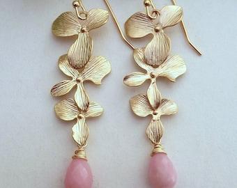 Blush Pink OPAL Triple Matt Gold Plated Orchid Earrings