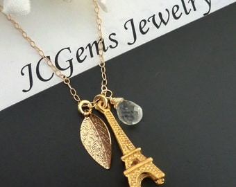 Custom Stone and Initial Necklace - Rock Quartz EIFFEL  Paris Tower in 14kt Gold Filled Chain Necklace