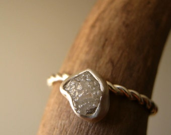 Dew drop - Engagement Ring with Rough Diamond on Twisted band, Sterling Silver